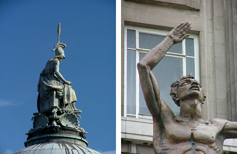 Minerva atop Liverpool Town Hall (left) and Jacob Epstein's 'Dicky Lewis'