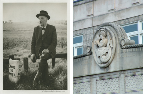 George Herbert Tyson Smith (left (© NT/E Chambré Hardman Collection www.nationaltrust.org.uk) and Merman on Spinney House, Church Street