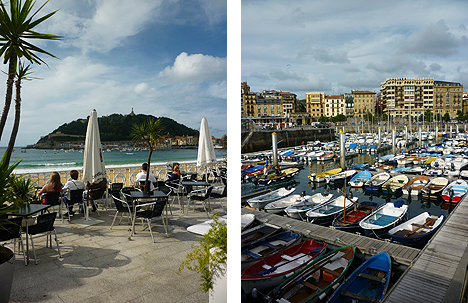 San Sebastian bar terrace (left) and Old Town quayside