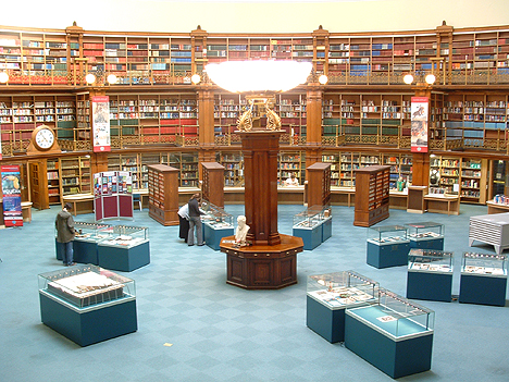 Picton Reading Room with Audubon volume (left foreground) as it was formerly displayed