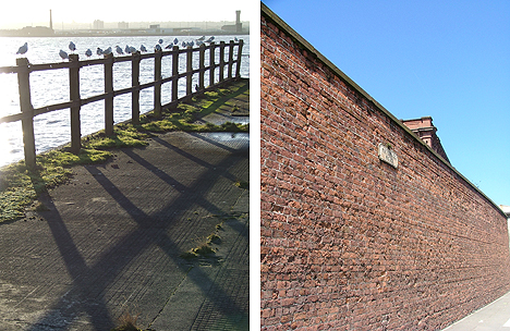 Princes Dock today (left), once of forest of masts, now a place for seagulls to sit off, and a section of the mighty Dock Wall