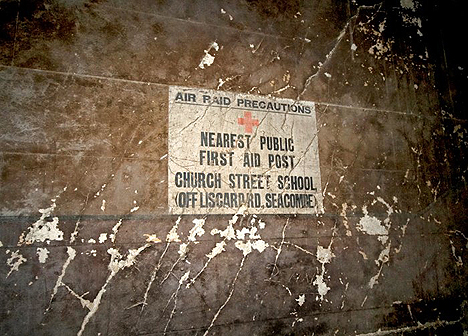 <i>Air-raid notice inside Central Hydraulic Tower and Engine House</i>, Wallasey Docks