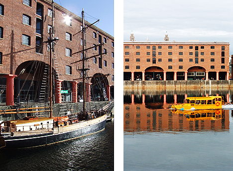 Vessels old and new in today's Albert Dock