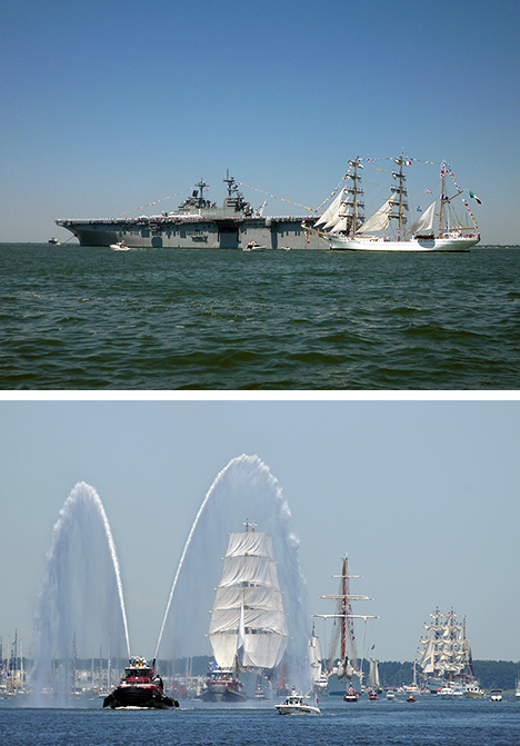 Cuauhtemoc glides by a modern monster (top) and a fanfare from a tugboat (© Lacordrick Wilson/US Navy)