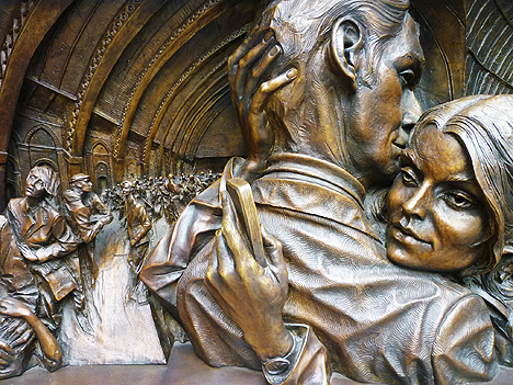 Detail from Paul Day's Meeting Place sculpture at St Pancras