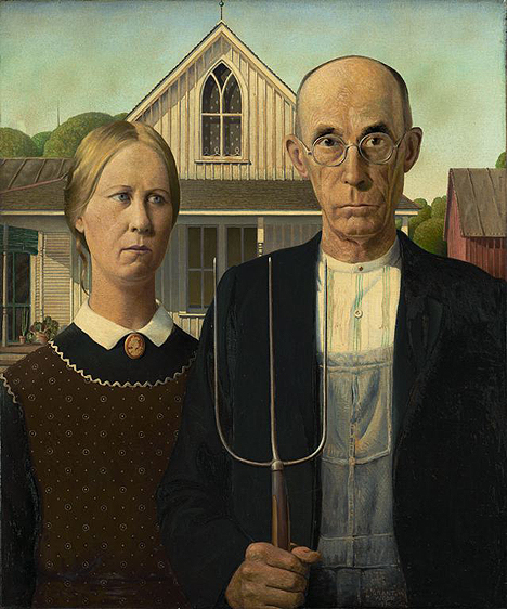 <i>American Gothic</i>, 1930 (Grant Wood) from Friends of American Art Collection, Art Institute of Chicago